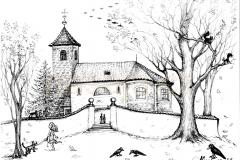 Kostel s havrany perokresba