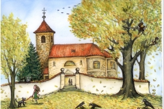Kostel s havrany barevně